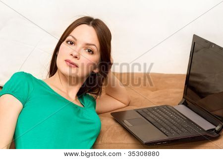Woman On The Floor With Laptop