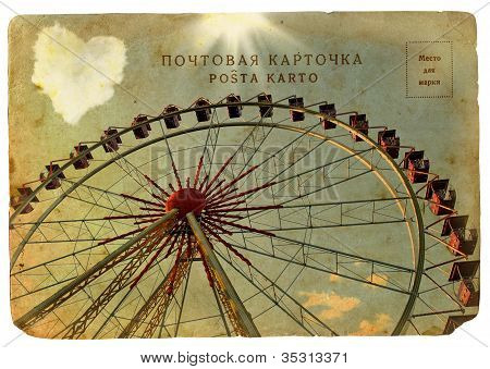 Old Postcard With A Big Ferris Wheel.