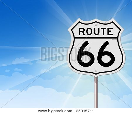 Route 66 Roadsign on Blue Sky