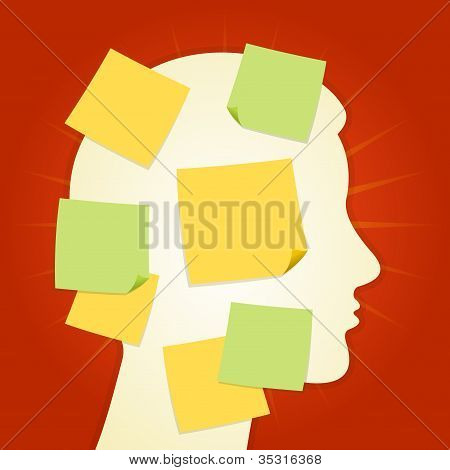 Head and paper stickers on Red