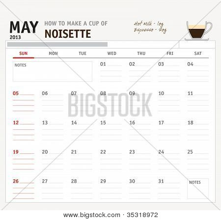 Set of calendar with espresso and coffee design for year 2013