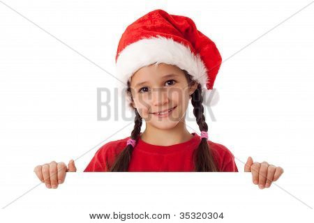 Christmas girl standing with empty blank