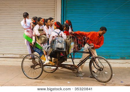 School Girls Bus Transportation Cycle Rickshaw India