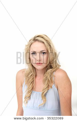 Wistful Withdrawn Young Woman