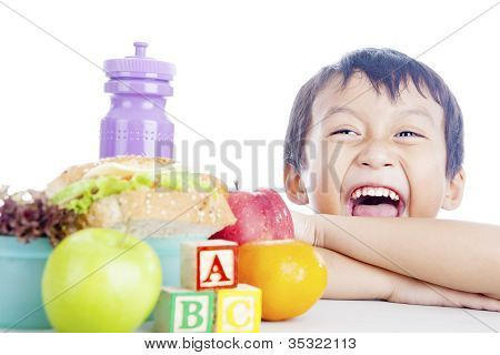 Happy Child With School Lunch