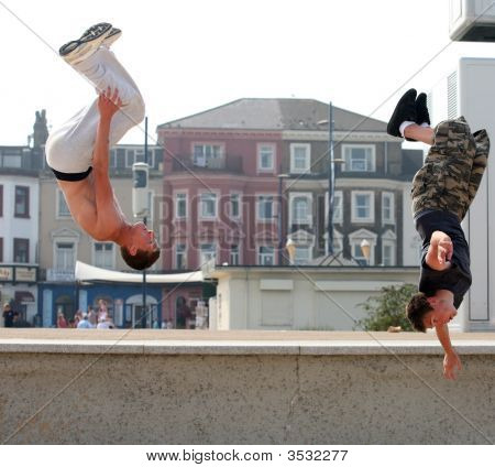 Parkour Gymnasts In Action