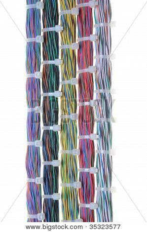 Bundles of network cables and cable ties