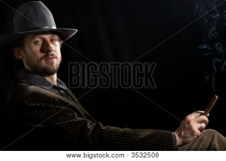 Man In Dark Room