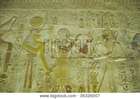 Pharaoh Seti with Osiris and Hathor