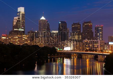 Night View Of The Philadelphia Skyline