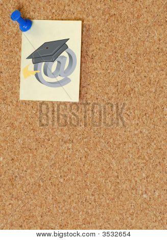 Corkboard With Online Graduation