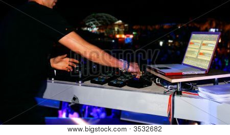 Dj At Sound Mixer