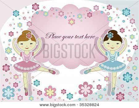 ballerina, ballet, female, child, dancer, dancing, flower, girls, illustration, theater, tiptoe, tut