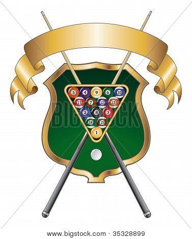 Ocho Balll emblema diseño cinta