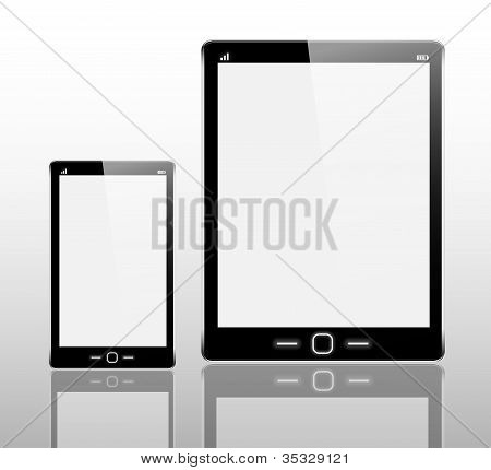 Realistic Tablet Computer And Mobile Phone.