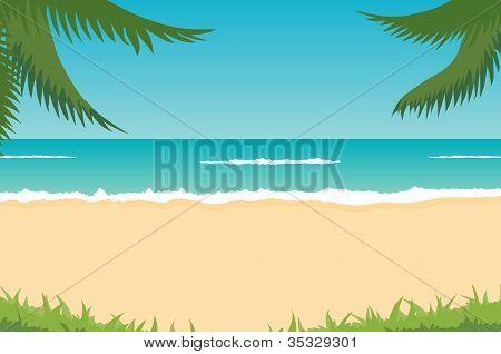 Beach, Sea, Waves, Palms