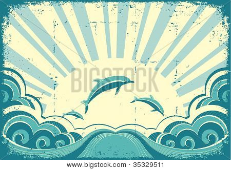 Blue Dolphins Jumping In Sea In Summer Day.grunge Vector