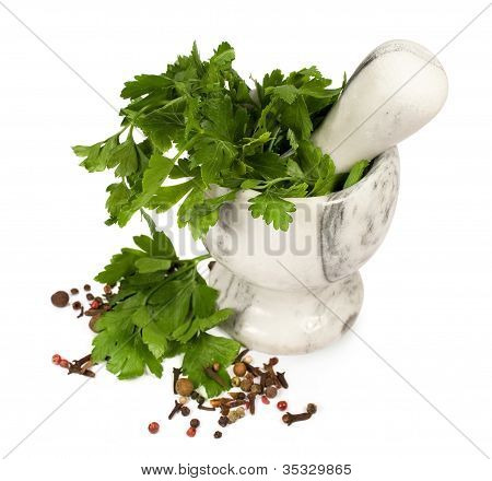 Stone Mortar With Parsley And Spices