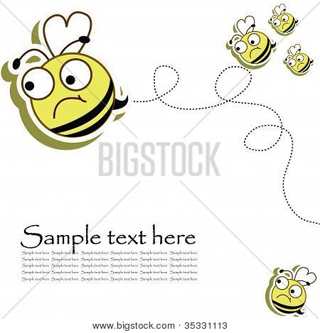 Postcard with a funny bees