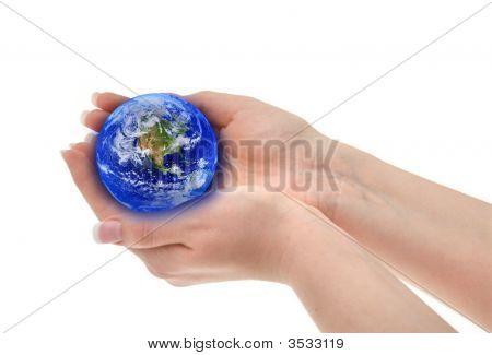 Joined Female Hands Holding Globe