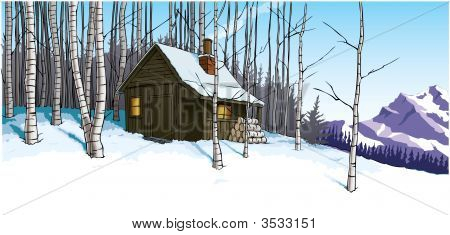 Snow Scene With Mountain Hut Retreat