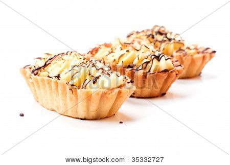 Three coffee cakes isolated