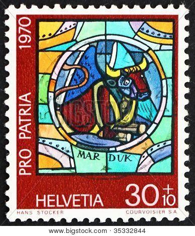 Postage stamp Switzerland 1970 Bull, by Hans Stocker