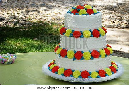 Red and Yellow Wedding Cake