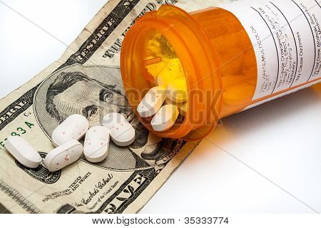 Bottle Of Prescription Pills Laying On Money