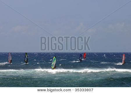 Windsurfers At Hookipa Beach Park, Maui, Hawaii