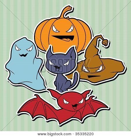 Coleção de vetores de objetos relacionados ao Halloween e criaturas.