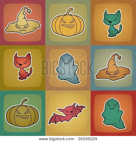 Vector background of Halloween-related objects and creatures.
