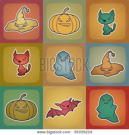 Fundo de vetor de objetos relacionados ao Halloween e criaturas.