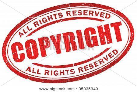 Símbolo de direitos autorais grunge