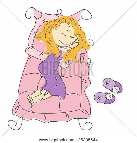 Vector illustration of sleeping princess