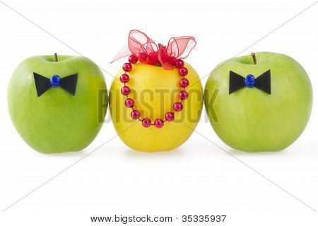 Three Apples As A Concept Of Competition Between Two Male And One Female, Isolated