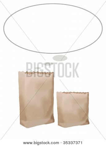 Brown Paper Bag with Text Box
