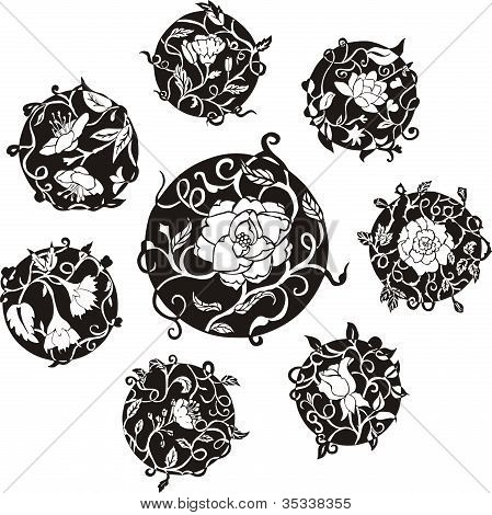 Round Decorative Flower Dingbat Designs
