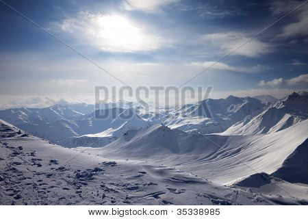 Snowy Mountains In Evening