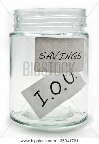 Savings jar containing an IOU