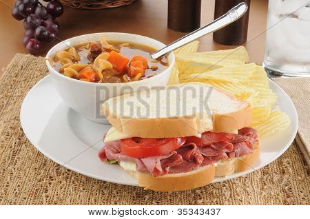 Pastrami Sandwich With Soup