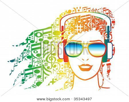 Woman Wearing Headphones with Musical Notes for Hair