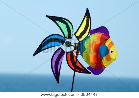 Colourful Spinwheel, Without Rudder, Windless And Still