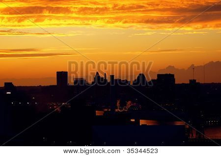 Industrial City At Sunset