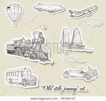 Vector set of vintage transport