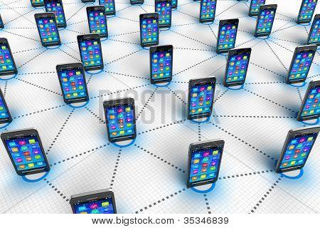 Concepto social de la comunicación de la red y mobilie
