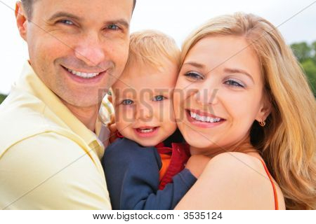 Smiling Family. Faces Closeup