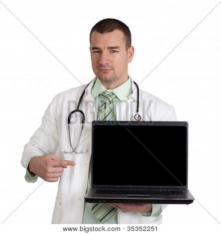 Doctor Pointing On Laptop