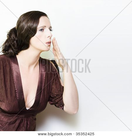 Person Whispering A Secret Over White