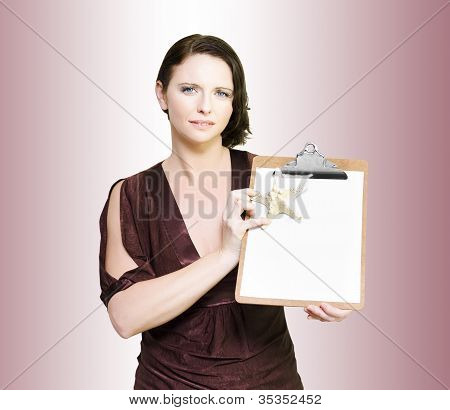 Beach Holiday Sales Woman With Clipboard